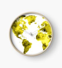 World Map Vivid Yellow Watercolor Clock