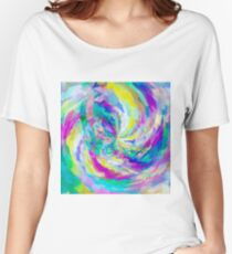 colorful splash painting abstract in pink green blue yellow Women's Relaxed Fit T-Shirt