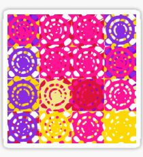 graffiti circle pattern abstract in pink yellow and purple Sticker