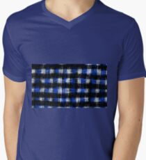 plaid pattern painting texture abstract in blue and black Mens V-Neck T-Shirt