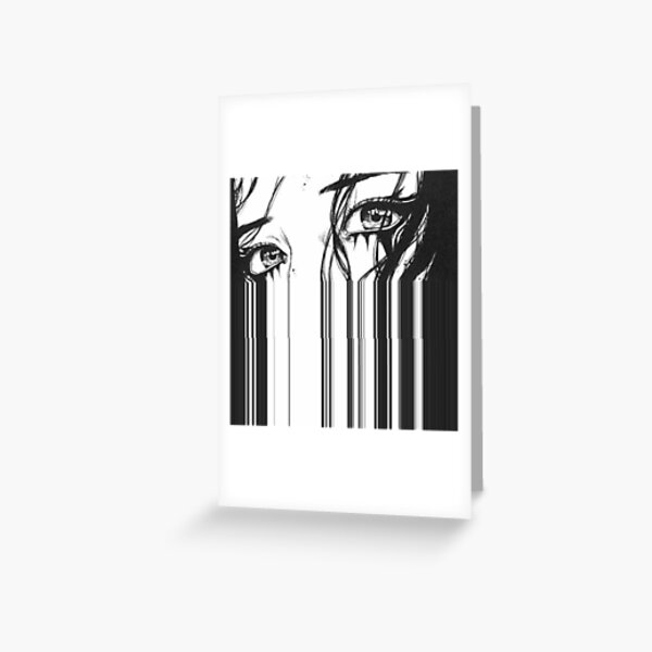 Anime Glitch Eye Art Greeting Card