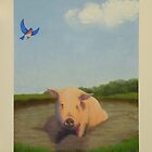 Happy Pig in the Mud by PhyllisGAndrews