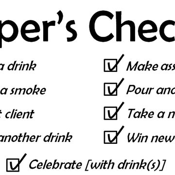 Draper's Checklist, black design by gruffyjustice