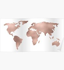 World Map Rose Gold Shimmer Poster