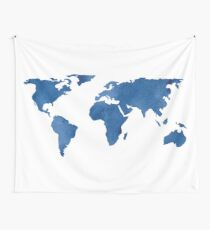 Map - Blue World Map Watercolor Wall Tapestry