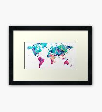 World Map Turquoise Pink Blue Green Framed Print