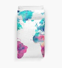 World Map Turquoise Pink Blue Green Duvet Cover