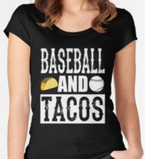 Baseball and Tacos Funny Taco Women's Fitted Scoop T-Shirt