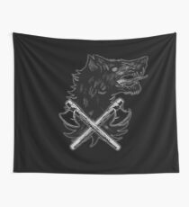 Viking Wolf Axe Throwing Brotherhood of Wolves Iron and Blood Wall Tapestry
