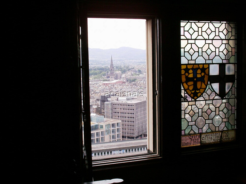 Window with view in hall of Edinburgh Castle by anaisnais