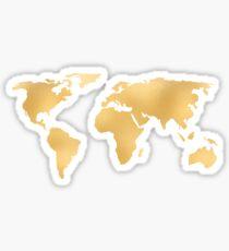 World Map Deep Gold Rush Sticker