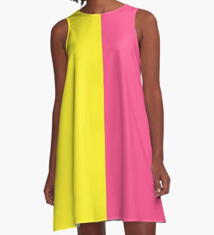 Pink & Yellow Block A-Line Dress