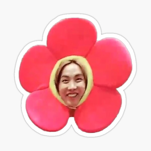 Jhope Chuseok Flower (negro) Pegatina