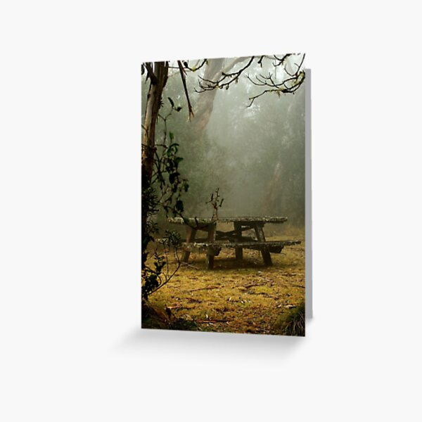 alone on a foggy mountain top Greeting Card