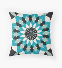 Teal Blue, Grey and White Floral Abstract Throw Pillow