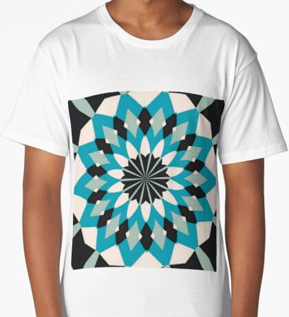 Teal Blue, Grey and White Floral Abstract Long T-Shirt