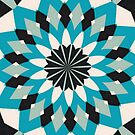Teal Blue, Grey and White Floral Abstract by taiche