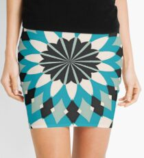 Teal Blue, Grey and White Floral Abstract Mini Skirt