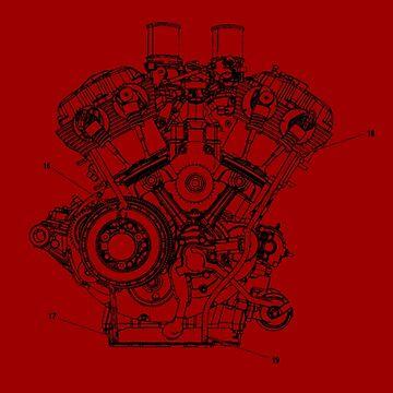 Harley Davidson V-rod engine..T-shirt etc... by timothybeighton