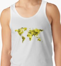 World Map Vivid Yellow Watercolor Tank Top