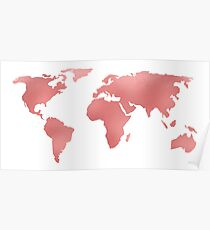 World Map Pink Rose Gold Shimmery Poster