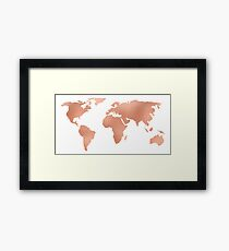 World Map Rose Gold Bronze Copper Metallic Framed Print