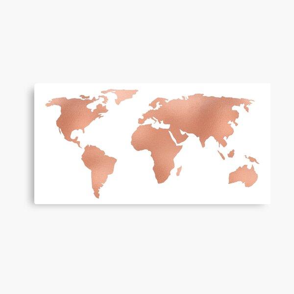 World Map Rose Gold Bronze Copper Metallic Canvas Print