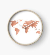 World Map Rose Gold Bronze Copper Metallic Clock