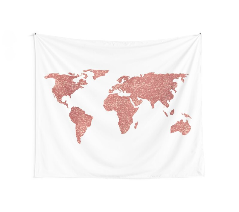 World map rose gold glitter wall tapestries by naturemagick world map rose gold glitter by naturemagick gumiabroncs Gallery