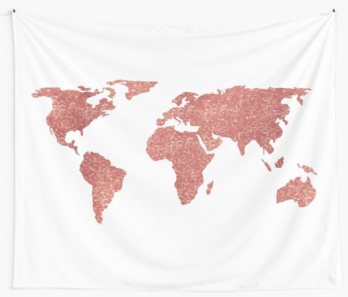 World map rose gold glitter wall tapestries by naturemagick redbubble world map rose gold glitter by naturemagick gumiabroncs Images