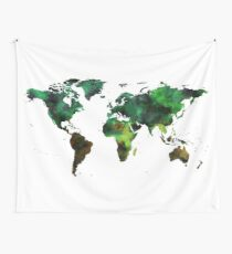 World Map Green Earth Painting Wall Tapestry