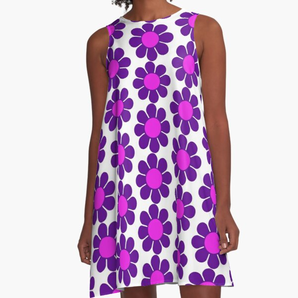 Purple Pink Hippy Flower Daisy A-Line Dress