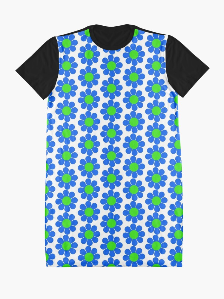 Alternate view of Blue Green Hippy Flower Daisy Graphic T-Shirt Dress