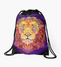 Geometric Lion Drawstring Bag