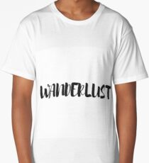Black and White Typography Wanderlust Word Art Long T-Shirt