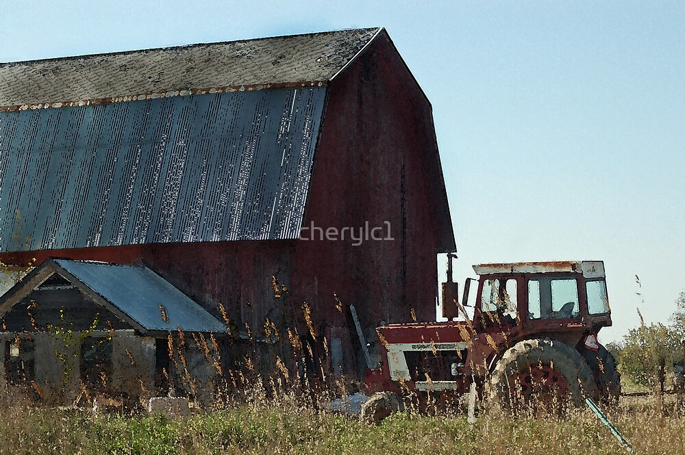 Barn And Tractor by cherylc1