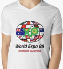 expo 88 logo with flags Men's V-Neck T-Shirt