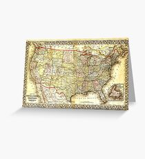 Map of the United States (19th century) Greeting Card