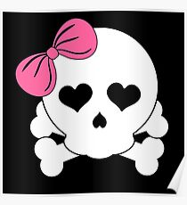 Girly Skull with Pink Bow Poster