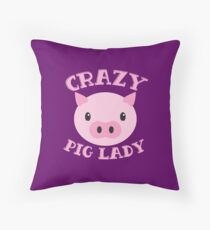 Crazy Pig lady (new cute face) Throw Pillow