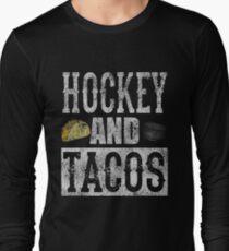 Hockey and Tacos Funny Taco Distressed T-Shirt