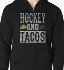 Hockey and Tacos Funny Taco Distressed Zipped Hoodie