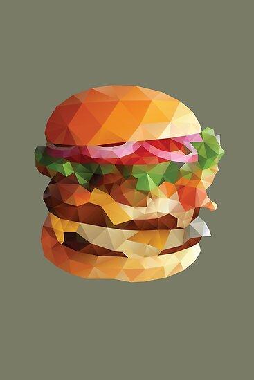 Gourmet Burger Polygon Art by polymolystudio