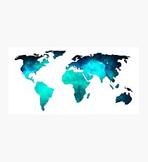 World Map Space Galaxy Stars in Turquoise Photographic Print