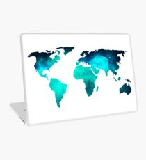 World Map Space Galaxy Stars in Turquoise Laptop Skin