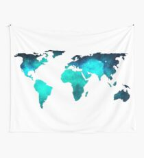 World Map Space Galaxy Stars in Turquoise Wall Tapestry