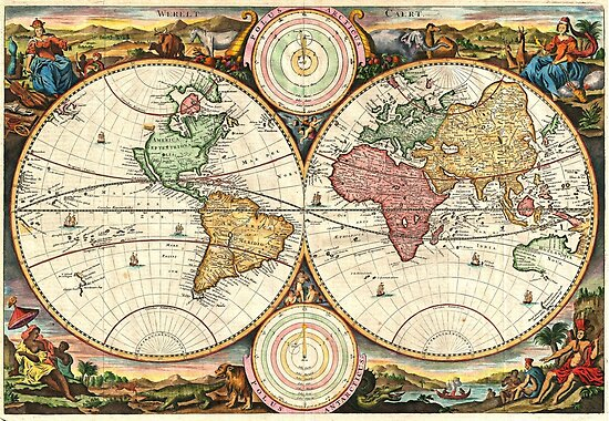 Vintage Maps Of The World. 1730 Stoopendaal Map of the World in two Hemispheres by Igor Drondin