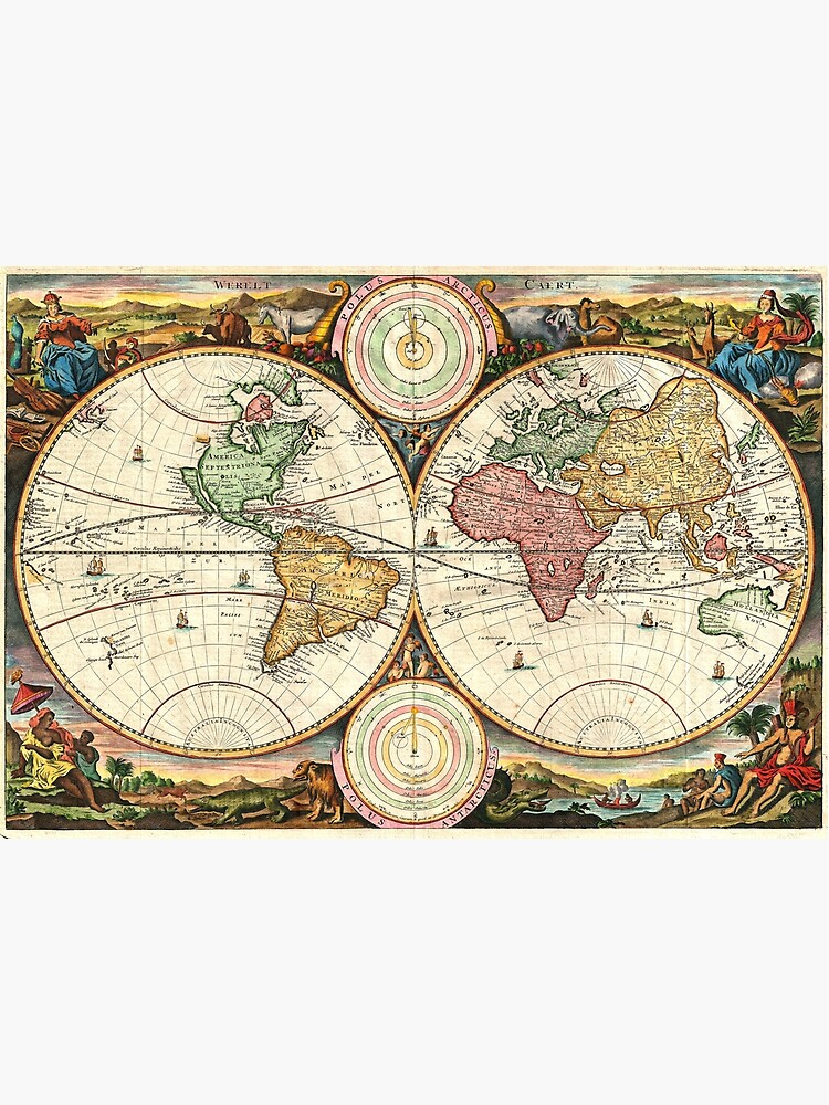 Vintage Maps Of The World. 1730 Stoopendaal Map of the World in two Hemispheres by Goshadron