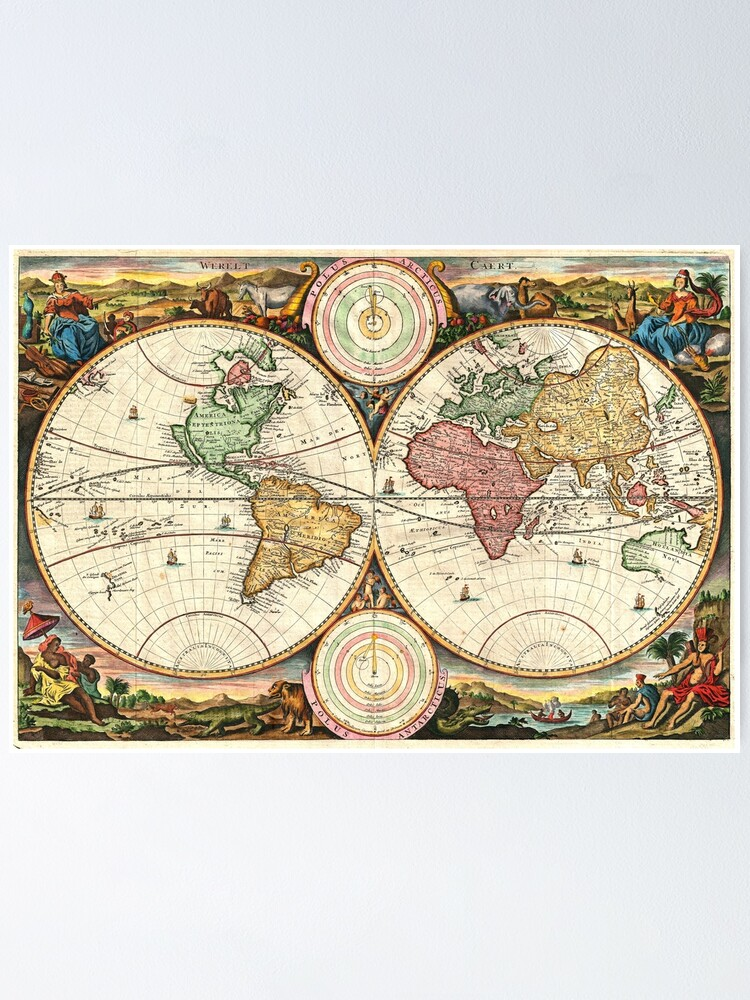 Alternate view of Vintage Maps Of The World. 1730 Stoopendaal Map of the World in two Hemispheres Poster