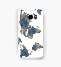 World Map Space Watercolor in Blue Samsung Galaxy Case/Skin